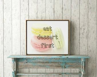 Printable Eat Dessert First Macaroons
