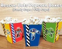 DIY Foldable Rescue Bots Inspired Popcorn Box - Download and Print Rescue Bots Birthday Popcorn Box Rescue Bots Birthday Party Popcorn cups