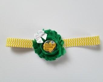 Green bay Packers baby girl headband- Green Bay infant headband- Green Bay baby girl shower gift- Packers baby girl- Packers infant girl