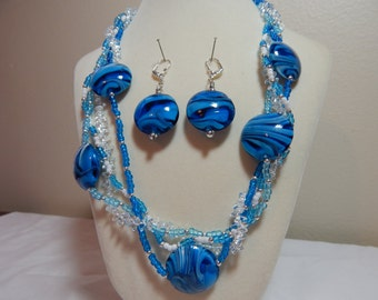 Multi-Strand Lampworked Glass Blue & White Beaded Necklace Set