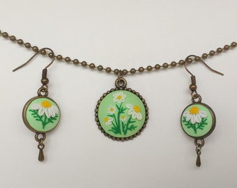 Set jewellery Camomiler jewellery  Hand sculpted jewelry Floral earrings Polymer clay embroidery necklace Floral pendant
