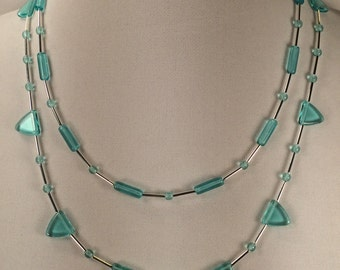 Double Strand Necklace with Aqua Glass Beads