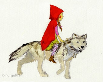 Caperucita Roja y lobo / Little Red Riding Hood & Wolf- Postcard (5x7in)