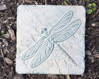 6 Inch Hand Painted Concrete Dragonfly Garden Tile/Plaque/Stone
