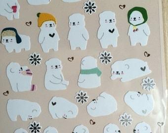 korea Funny Sticker - white polar bear, sliver foil