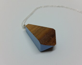 Australian Wandoo Pendant - Geometric wood pendant necklace with lilac accent