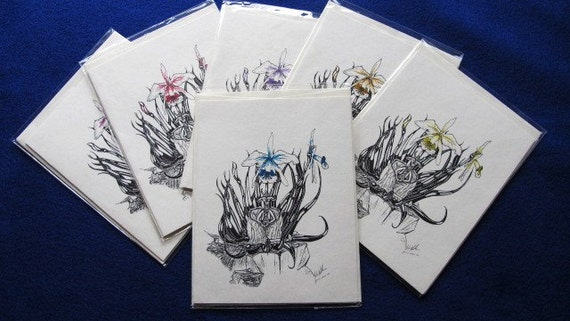 Flower Dragon: Set of 6 4.25x5.5 blank cards with envelopes