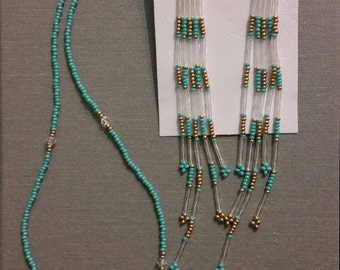 Matching seed bead set with swarovski crystals.