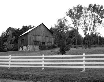 Black and White Barn Print,  Barn Photography, Farm Print, Photography Print