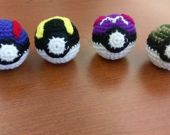 Crochet Pokeballs - Great, Ultra, Master, and Safari