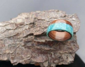 Turquoise and Sapele bentwood ring