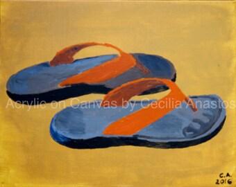 Flip Flop (2016) Orange flip flops on a yellow ocre background