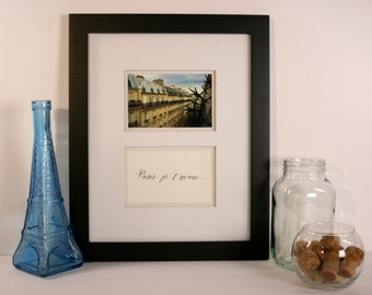 Framed Photograph of Paris with Calligraphy Inscription