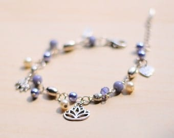 Handmade Purple/Lavender Beaded Bracelet with Charms