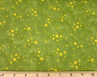 Snuggle Time Stars Olive Fabric From Quilting Treasures