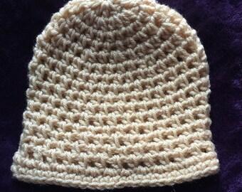 Handmade Tan Crochet Beanie