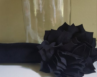 Black infant jersey flower headband