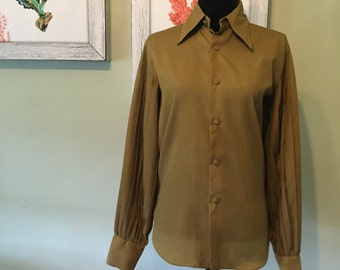 Vintage Pleated Sleeve Olive Green Top