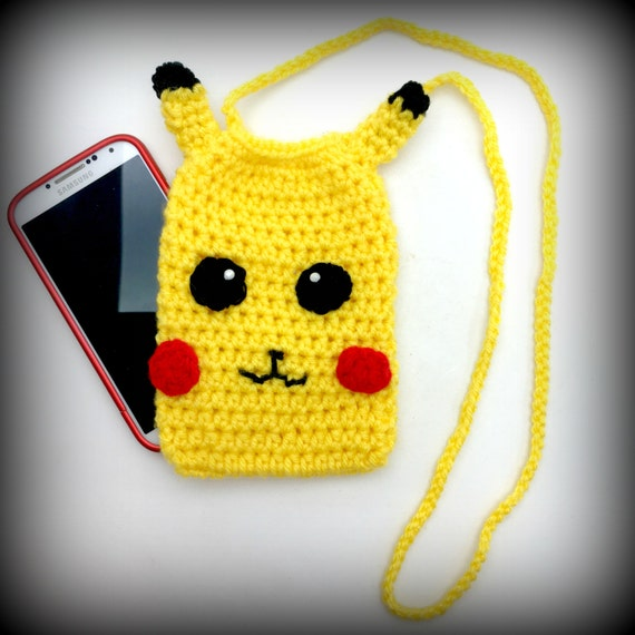 Crochet Cell Phone Purse : Crochet Pokemon Pikachu Cell Phone Purse by OffthehookByMary