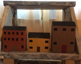 Handmade/painted wooden houses