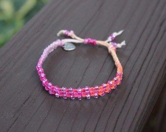 "Beaded ""Taffy"" Tie-Dye Hemp Bracelet"