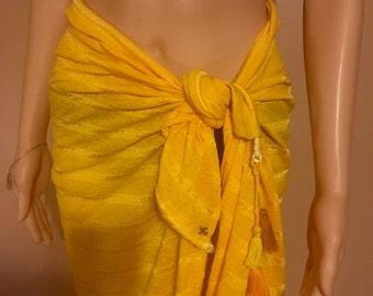 Sunburst yellow convertible clothing, halter, skirt, scarf, top, totebag, multi-style, yoga skirt, sarong, multi-style, travel light, shawl!