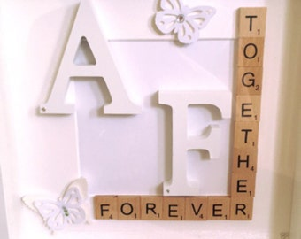 Wedding Frame with Block Letter Initials and butterfly / diamante design