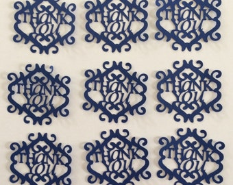 """9 -2 1/2"""" Tall Thank You Die Cuts Navy Scrapbooking Card Making"""