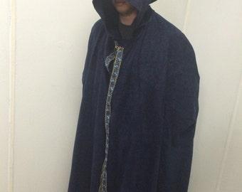 Blue hooded cloak