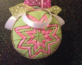 Handmade Fabric Ornament (Green and Pink)