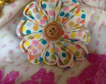 Matilda Jane Inspired Candy Dots Fabric Flower