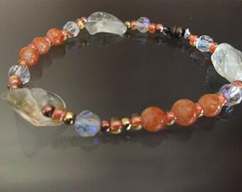 Citrine nugget and crystal bracelet