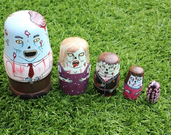 Matrioska Zombies. Russian doll, hand painted. Home decoration. Toy. Present. 5 pieces. Matryoshka, Babushka.