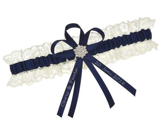 Wedding garter ivory and navy blue