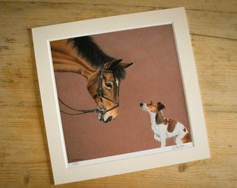 Dog and Horse pastel - Giclée Limited Edition A3 print