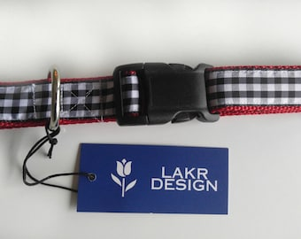 Black & White Gingham Check Flat DOG COLLAR