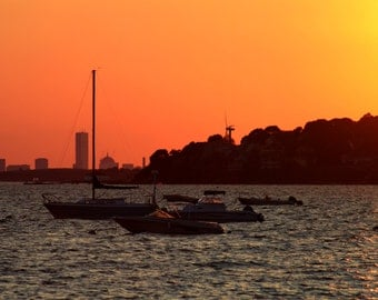 Sunset with boats- fine art photo