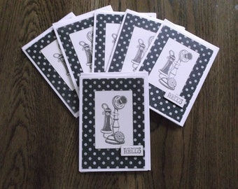 Set of 6 Handmade Nostalgic Blank Notecards, for messages, Thank You, Birthday, and more
