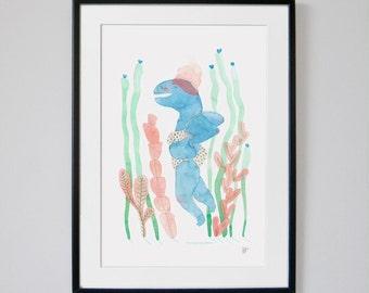 "Singular watercolor Print. ""Metamorphosis in the sea"". Home decoration for creative and original people"
