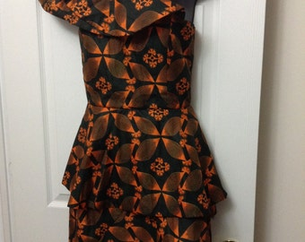 African Print One Shoulder Dress
