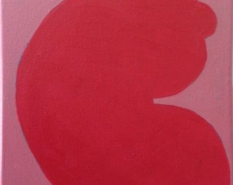 Abstract Painting: Cut Outs Color Study (red on pink)