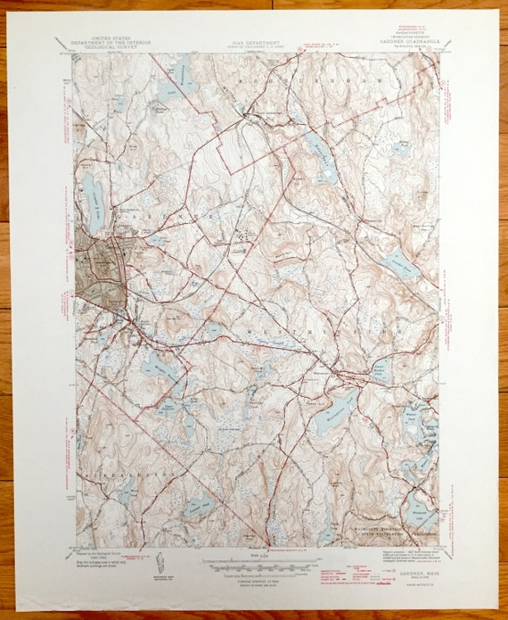 Antique Gardner Massachusetts 1946 US Geological Survey