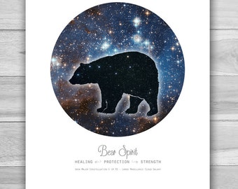 Cosmic Bear Spirit Animal Print ~ Art Print ~ Animal Totem ~ Constellation ~ Galaxy ~ Astronomy ~ Space ~ Home Decor ~ 8 x 10 or 11 x 14