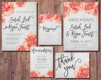 Peach Wedding Invite Printable, Floral Wedding Invitation, Coral Printable Wedding  Invitation, Peach Wedding