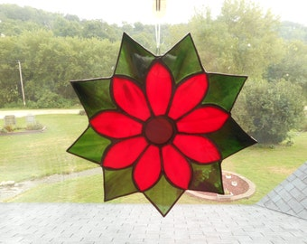 Beautiful Large Stained Glass Flower Suncatcher -Red and Green