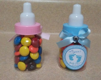 "12 Baby shower favors - baby bottles - baby shower bottles -  3 1/2""  - baby girl - baby boy - any theme"