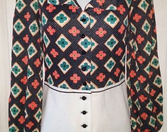 vintage 60's Lauratex Textile Intrigue Psychedelic Punk Romper Jumpsuit w/ Tags