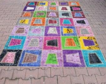 8.8'' x 6.7'' Vintage Rug Collage.  Multicolor - Color Palette.Vintage Patchwork Rug . Patchwork Carpet , Multicolor Carpet