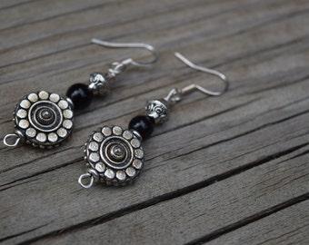 Flower metal bead earrings