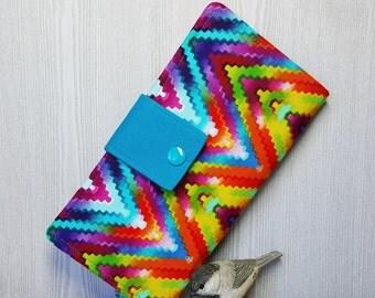 Abstract Rainbow Women's wallet, bifold fabric wallet, handmade wallet, clutch wallet, credit card wallet, checkbook wallet, gift idea